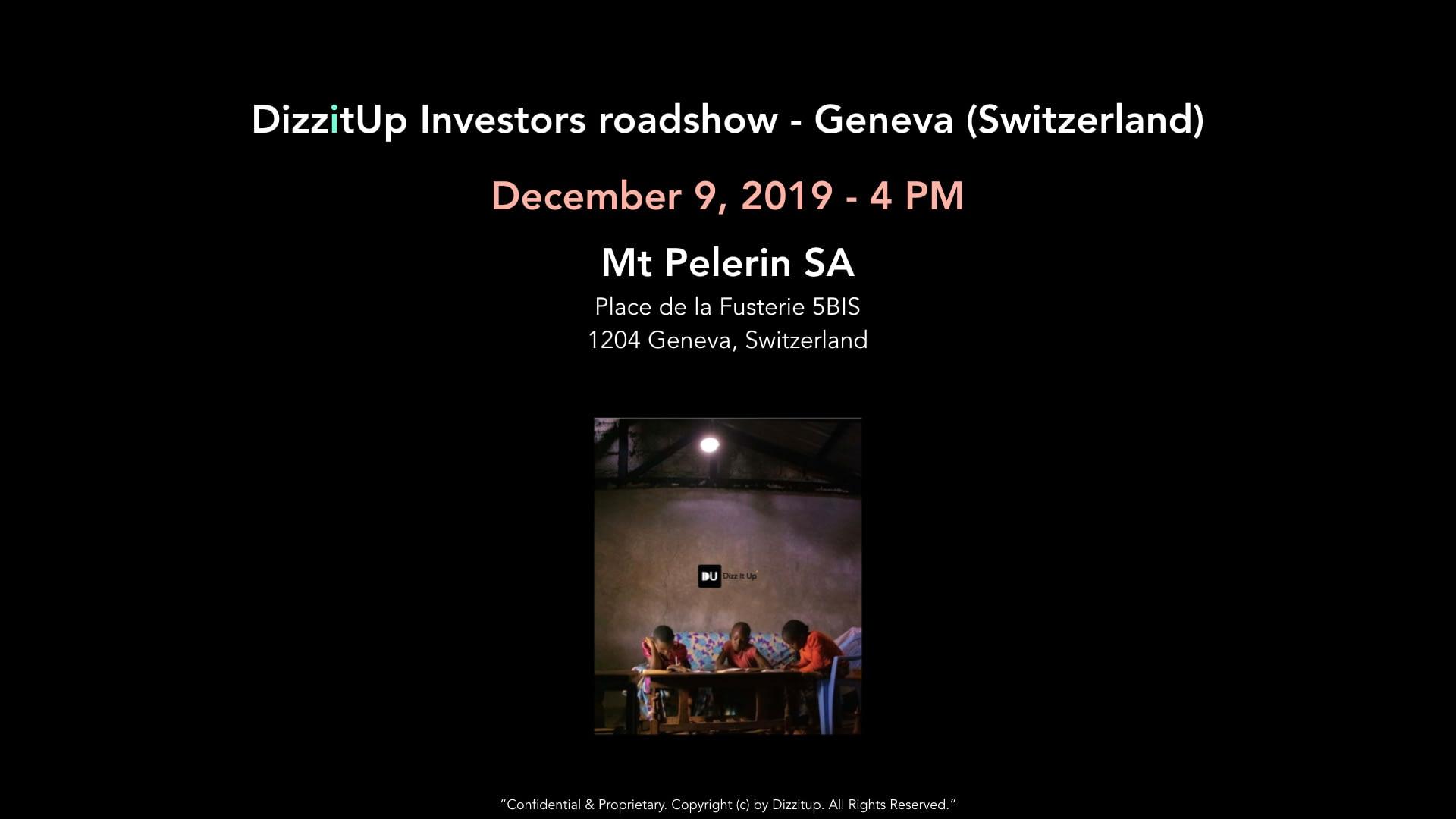 Investor roadshow - Geneva 12/09/2019